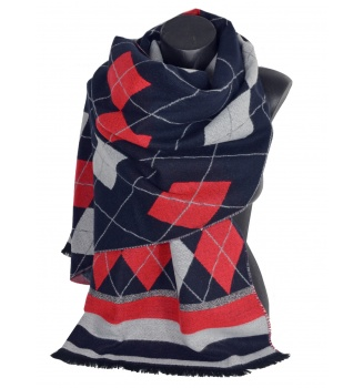 Châle Arlequin bleu-rouge
