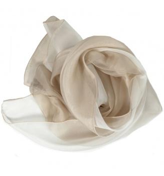 Foulard en soie bi-bandes beige