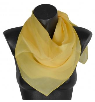 Grand carré en mousseline de soie jaune
