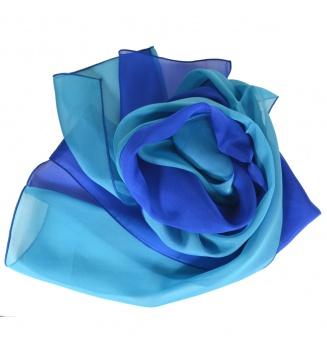 Foulard en soie bi-bandes bleu et turquoise
