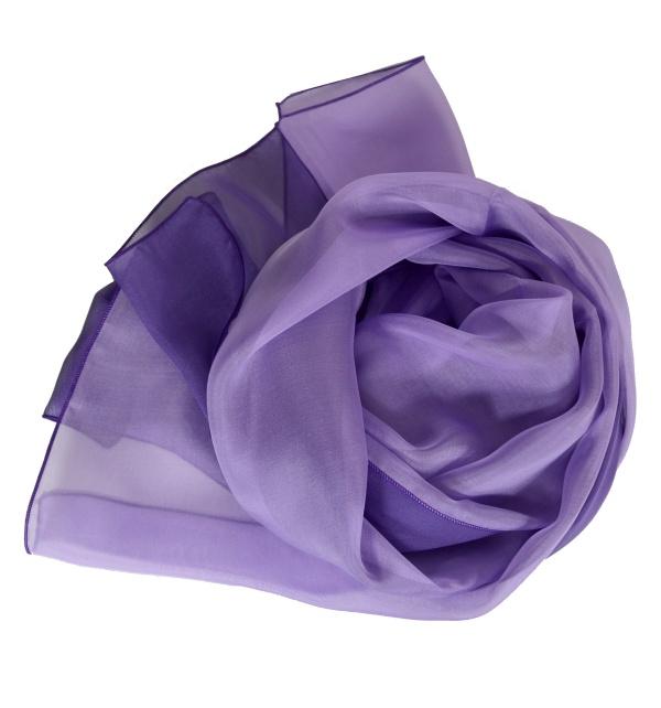 Foulard en soie bi-bandes violet et mauve