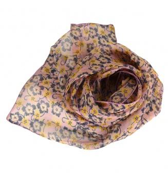 Foulard en soie Flowers rose poudré