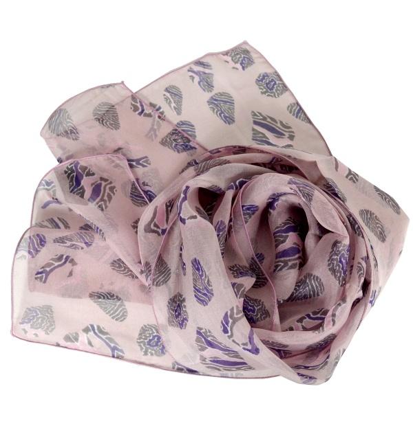 Foulard en soie Empreintes rose
