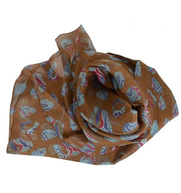 Foulard en soie Empreintes marron