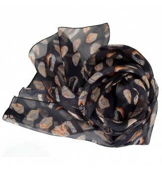 Foulard en soie Empreintes noir
