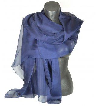 Etole en mousseline de soie bleu marine