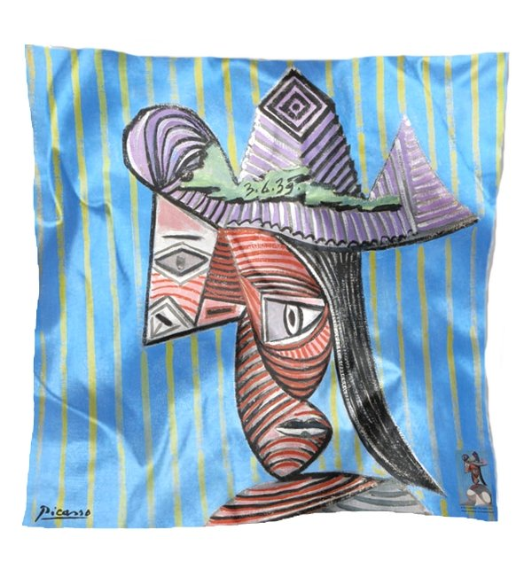 Carré en soie Buste de femme au chapeau rayé de Picasso