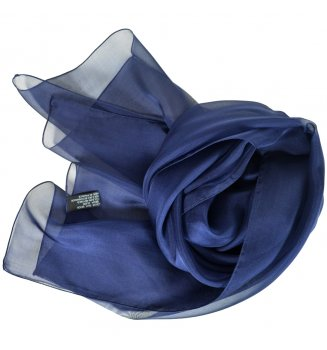 Foulard en mousseline de soie bleu marine