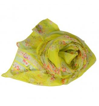 Foulard en soie Bouquet de printemps jaune