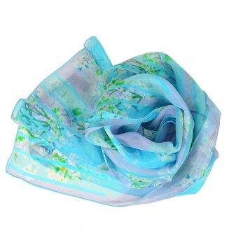 Foulard en soie Bouquet de printemps bleu