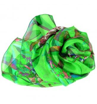 Foulard en soie pivoine vert