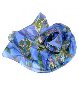 Foulard en soie pivoine bleu