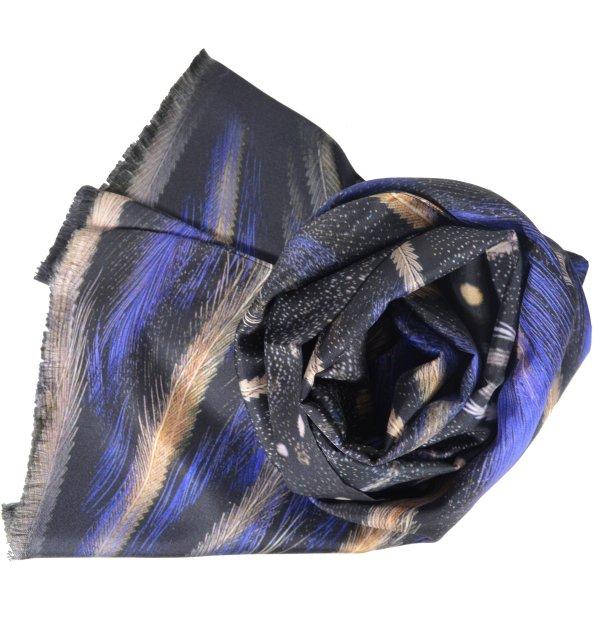 Foulard en soie homme Plumes bleues