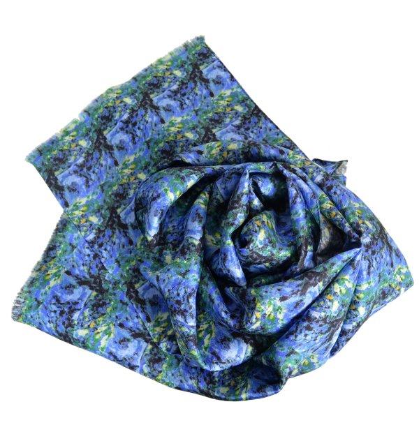 Foulard en soie homme Paysage Bleu de Cézanne
