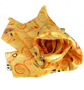 Foulard en soie Arbre de Vie de Klimt jaune